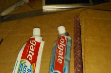Two of the chosen toothpaste tubes
